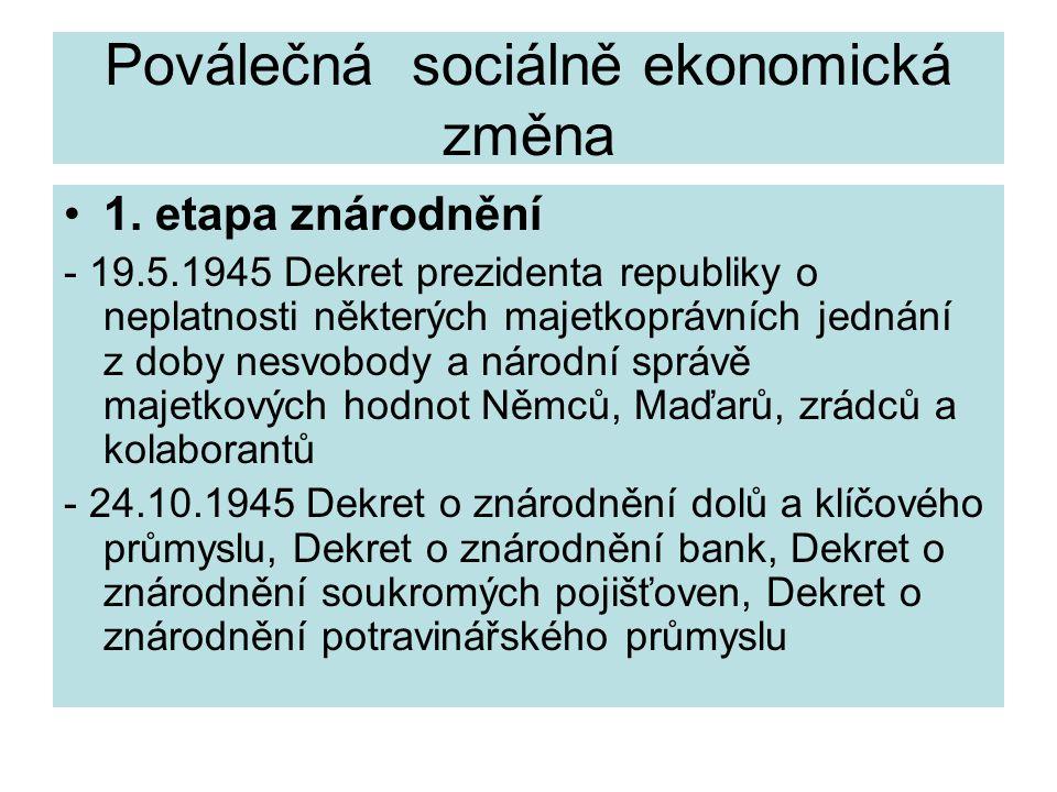 Poválečná sociálně ekonomická změna 1. etapa znárodnění - 19.5.1945 Dekret prezidenta republiky o neplatnosti některých majetkoprávních jednání z doby