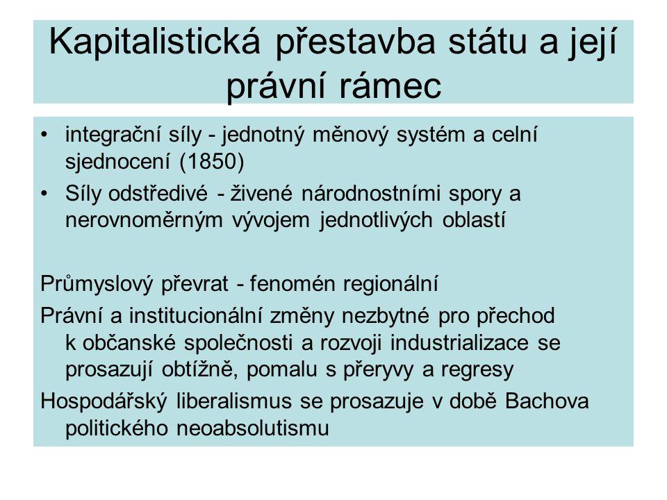 Kapitalistická přestavba státu a její právní rámec integrační síly - jednotný měnový systém a celní sjednocení (1850) Síly odstředivé - živené národno