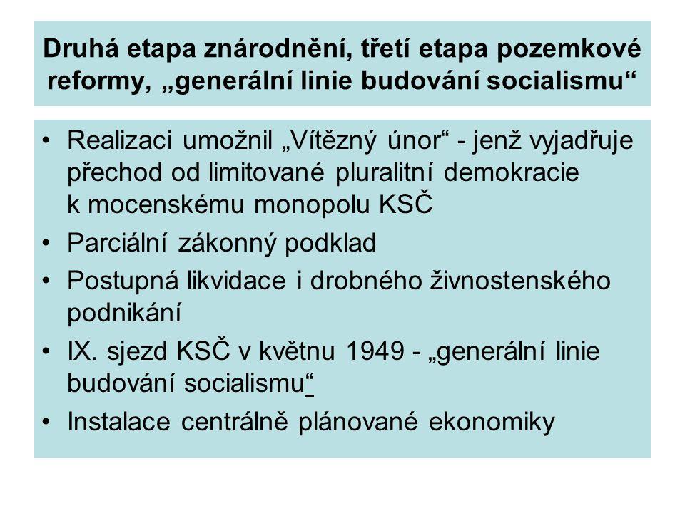"""Druhá etapa znárodnění, třetí etapa pozemkové reformy, """"generální linie budování socialismu"""" Realizaci umožnil """"Vítězný únor"""" - jenž vyjadřuje přechod"""