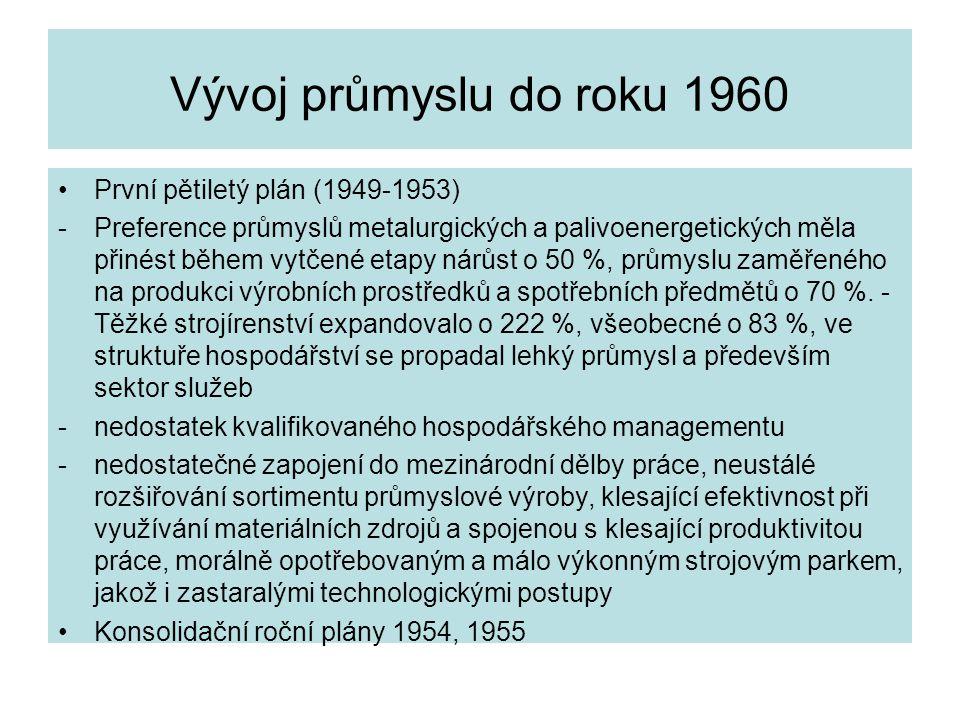 Vývoj průmyslu do roku 1960 První pětiletý plán (1949-1953) -Preference průmyslů metalurgických a palivoenergetických měla přinést během vytčené etapy