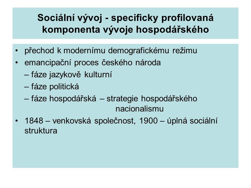 Sociální vývoj - specificky profilovaná komponenta vývoje hospodářského přechod k modernímu demografickému režimu emancipační proces českého národa –