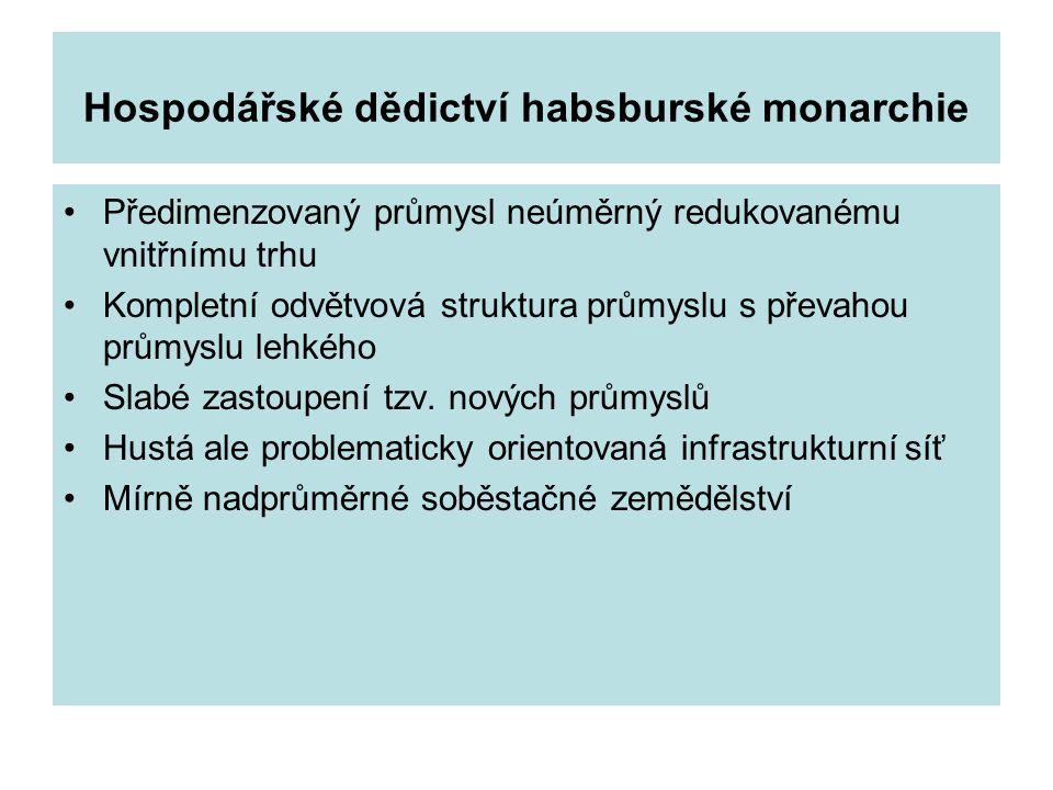 Hospodářské dědictví habsburské monarchie Předimenzovaný průmysl neúměrný redukovanému vnitřnímu trhu Kompletní odvětvová struktura průmyslu s převaho