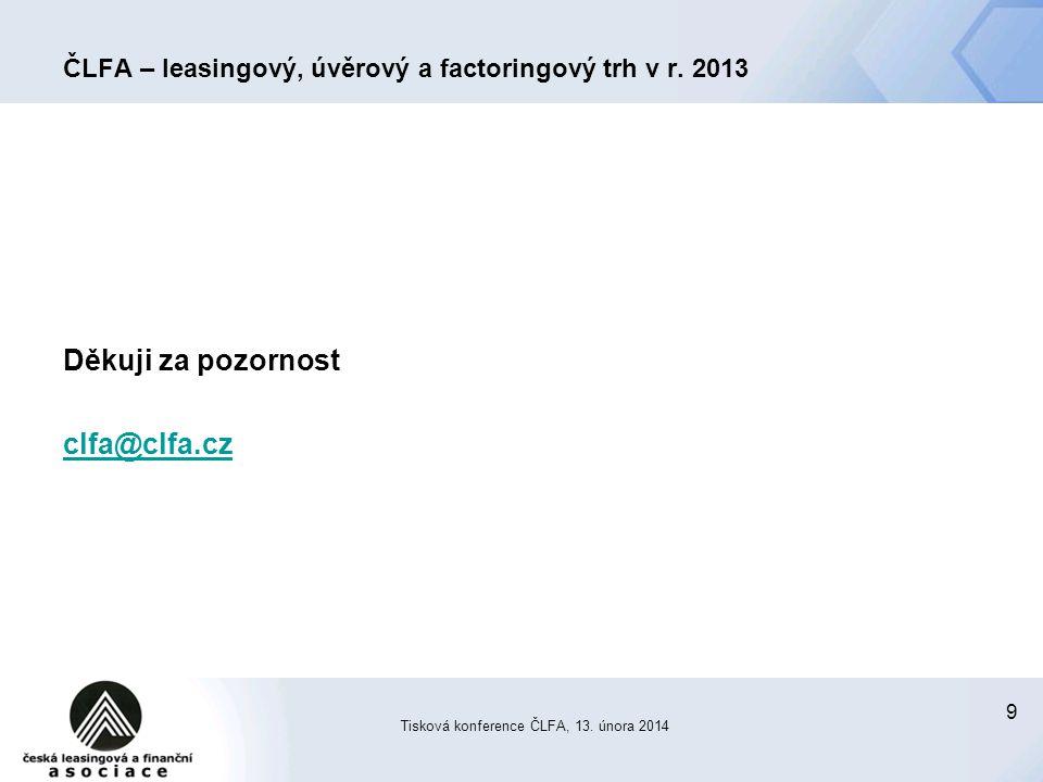 9 ČLFA – leasingový, úvěrový a factoringový trh v r.
