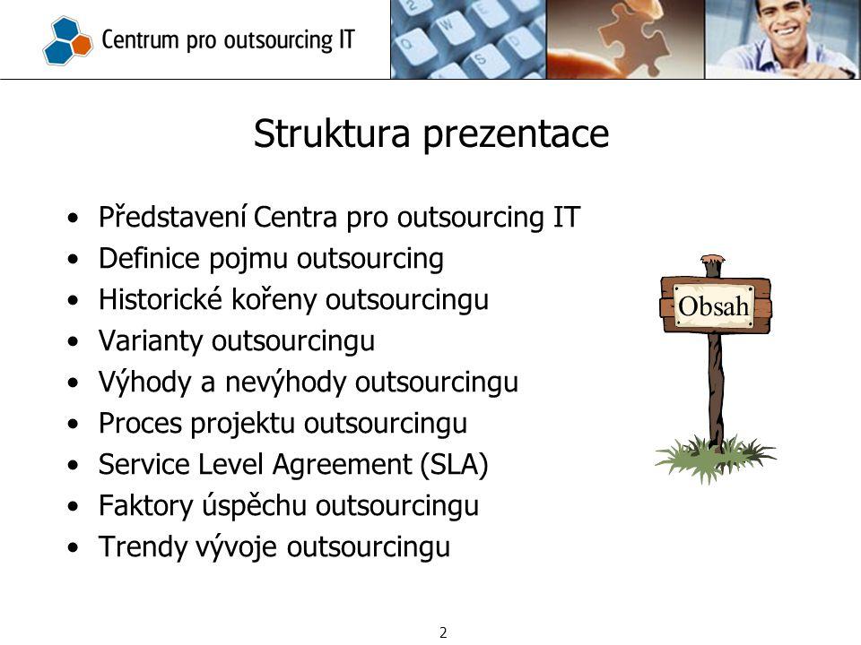 Představení Centra pro outsourcing IT Definice pojmu outsourcing Historické kořeny outsourcingu Varianty outsourcingu Výhody a nevýhody outsourcingu P