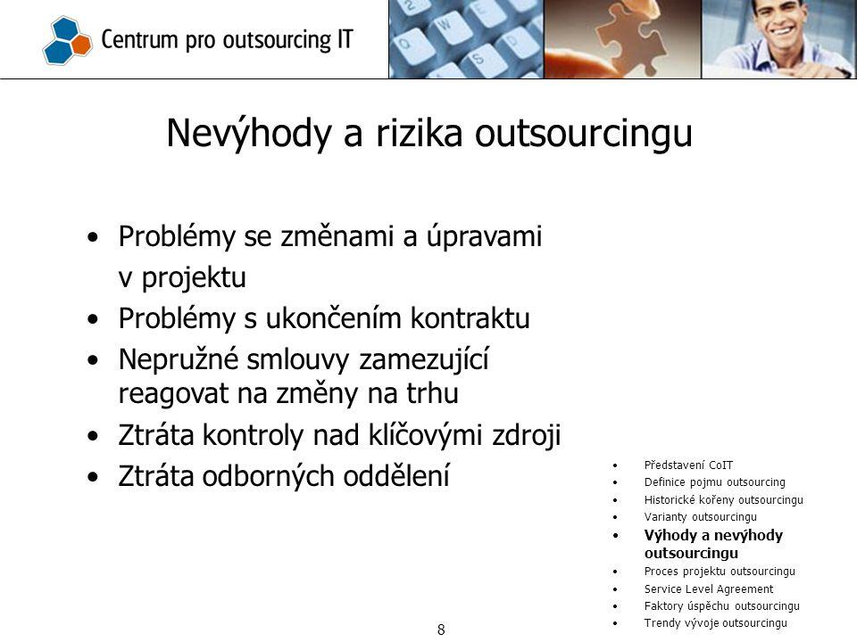 Nevýhody a rizika outsourcingu Představení CoIT Definice pojmu outsourcing Historické kořeny outsourcingu Varianty outsourcingu Výhody a nevýhody outs