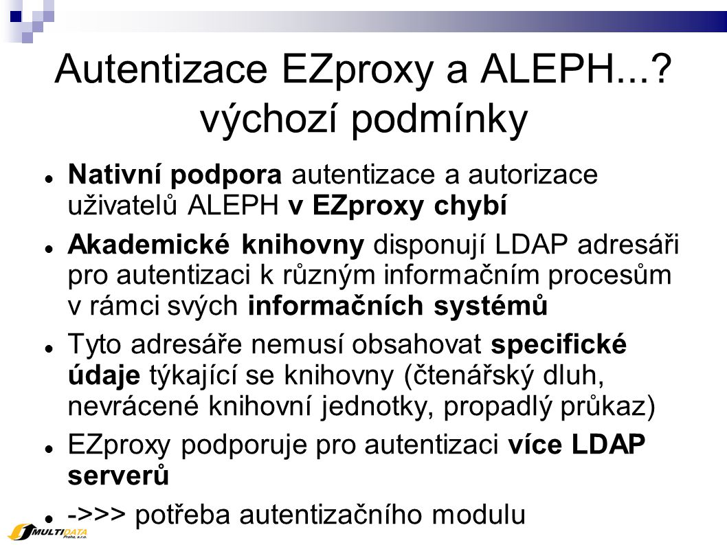 Autentizace EZproxy a ALEPH....