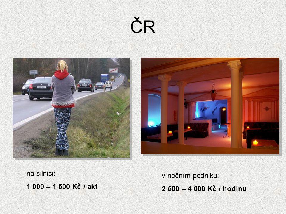 ČR na silnici: 1 000 – 1 500 Kč / akt v nočním podniku: 2 500 – 4 000 Kč / hodinu