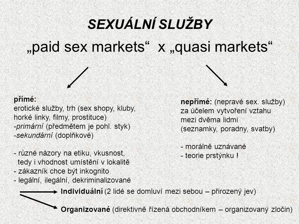"""""""paid sex markets"""" x """"quasi markets"""" SEXUÁLNÍ SLUŽBY přímé: erotické služby, trh (sex shopy, kluby, horké linky, filmy, prostituce) -primární (předmět"""