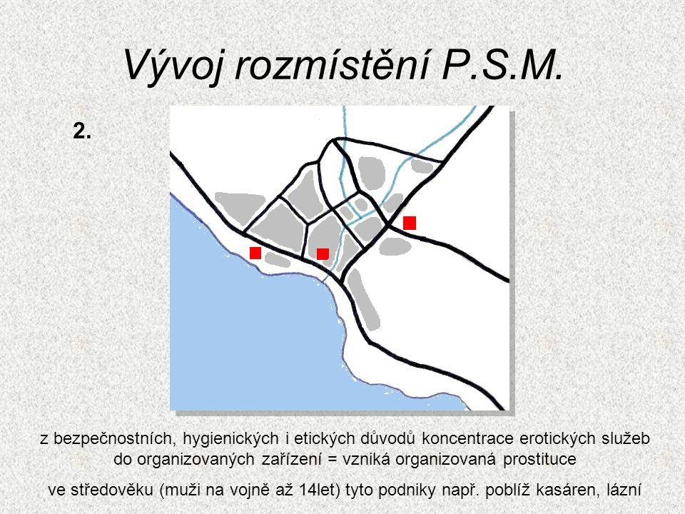 Vývoj rozmístění P.S.M. z bezpečnostních, hygienických i etických důvodů koncentrace erotických služeb do organizovaných zařízení = vzniká organizovan