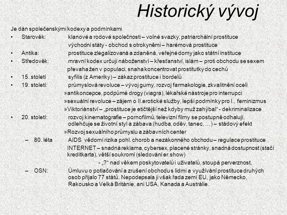 Historický vývoj Je dán společenskými kodexy a podmínkami Starověk:klanové a rodové společnosti – volné svazky, patriarchální prostituce východní stát