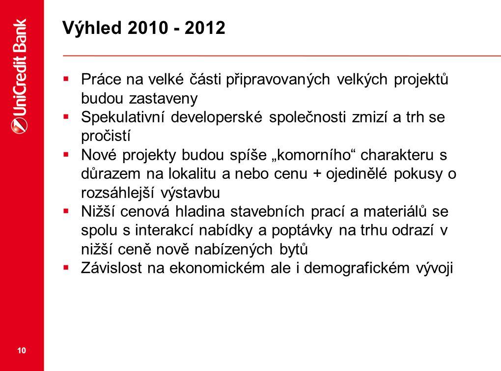 """10 Výhled 2010 - 2012  Práce na velké části připravovaných velkých projektů budou zastaveny  Spekulativní developerské společnosti zmizí a trh se pročistí  Nové projekty budou spíše """"komorního charakteru s důrazem na lokalitu a nebo cenu + ojedinělé pokusy o rozsáhlejší výstavbu  Nižší cenová hladina stavebních prací a materiálů se spolu s interakcí nabídky a poptávky na trhu odrazí v nižší ceně nově nabízených bytů  Závislost na ekonomickém ale i demografickém vývoji"""