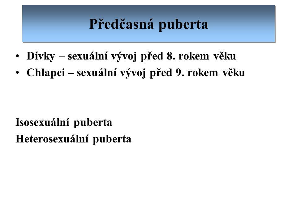 Předčasná puberta Dívky – sexuální vývoj před 8. rokem věku Chlapci – sexuální vývoj před 9. rokem věku Isosexuální puberta Heterosexuální puberta