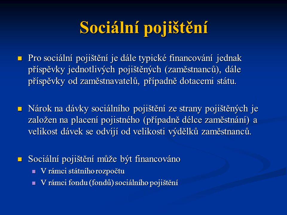 Sociální pojištění Pro sociální pojištění je dále typické financování jednak příspěvky jednotlivých pojištěných (zaměstnanců), dále příspěvky od zaměs