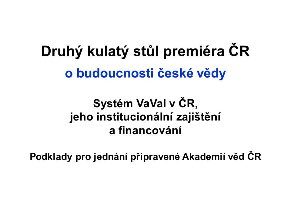 Druhý kulatý stůl premiéra ČR o budoucnosti české vědy Systém VaVaI v ČR, jeho institucionální zajištění a financování Podklady pro jednání připravené