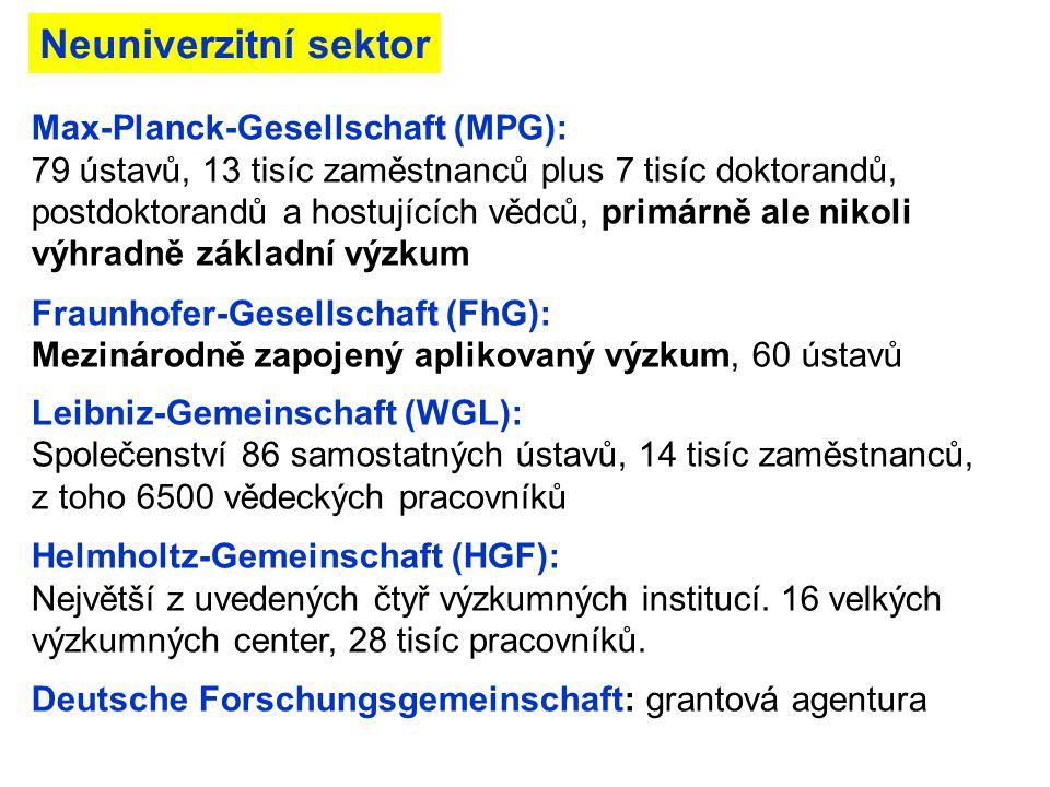 Max-Planck-Gesellschaft (MPG): 79 ústavů, 13 tisíc zaměstnanců plus 7 tisíc doktorandů, postdoktorandů a hostujících vědců, primárně ale nikoli výhrad