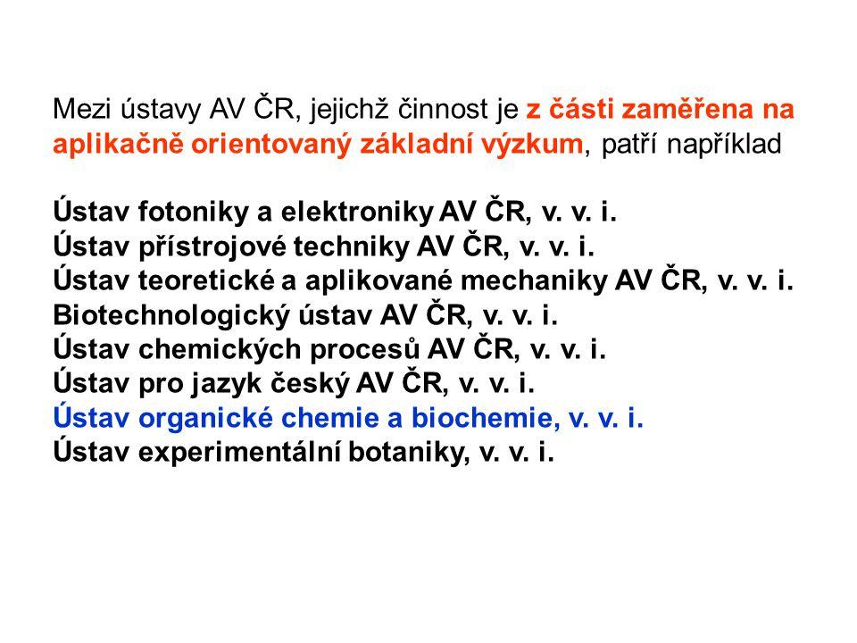 Mezi ústavy AV ČR, jejichž činnost je z části zaměřena na aplikačně orientovaný základní výzkum, patří například Ústav fotoniky a elektroniky AV ČR, v