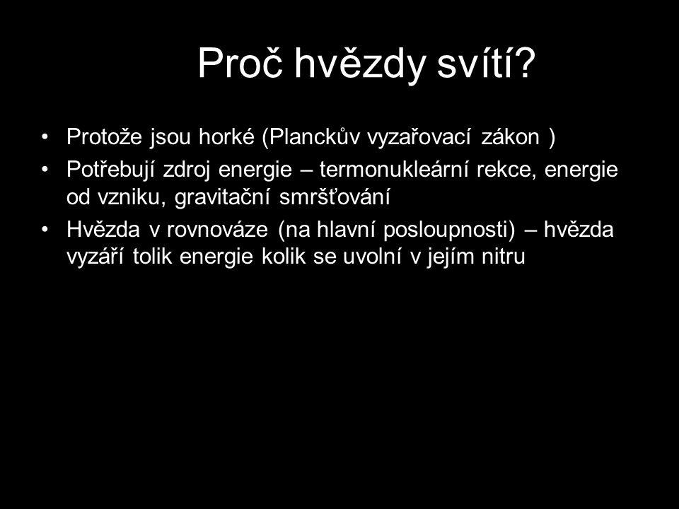 Protože jsou horké (Planckův vyzařovací zákon ) Potřebují zdroj energie – termonukleární rekce, energie od vzniku, gravitační smršťování Hvězda v rovnováze (na hlavní posloupnosti) – hvězda vyzáří tolik energie kolik se uvolní v jejím nitru Proč hvězdy svítí?