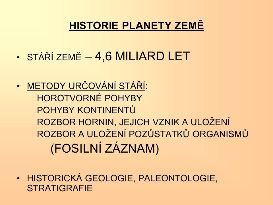HISTORIE PLANETY ZEMĚ STÁŘÍ ZEMĚ – 4,6 MILIARD LET METODY URČOVÁNÍ STÁŘÍ: HOROTVORNÉ POHYBY POHYBY KONTINENTŮ ROZBOR HORNIN, JEJICH VZNIK A ULOŽENÍ RO