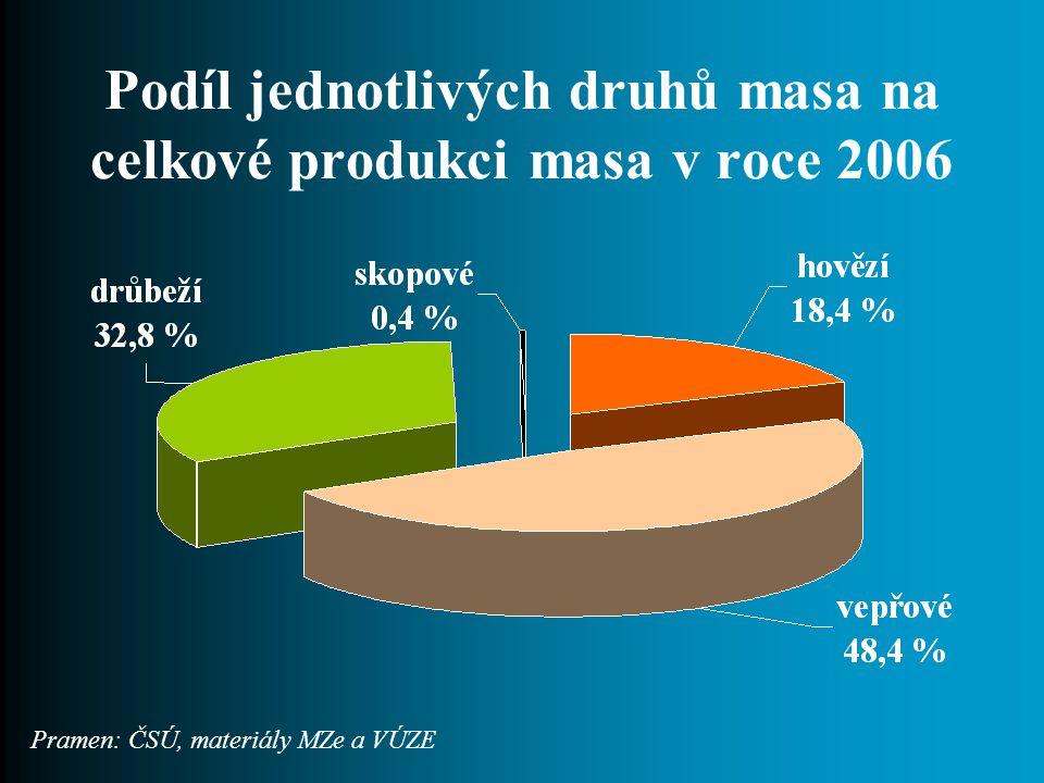 Podíl jednotlivých druhů masa na celkové produkci masa v roce 2006 Pramen: ČSÚ, materiály MZe a VÚZE