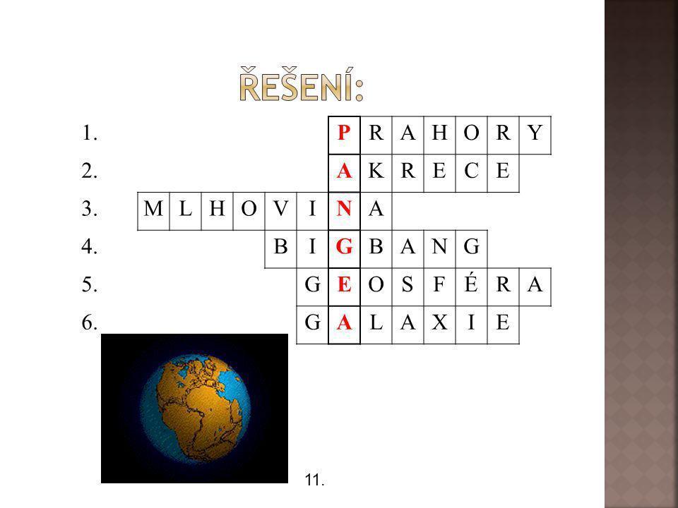 1. PRAHORY 2. AKRECE 3. MLHOVINA 4. BIGBANG 5. GEOSFÉRA 6.GALAXIE 11.