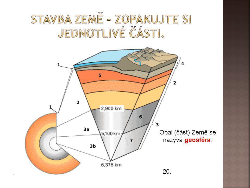 20. Obal (část) Země se nazývá geosféra.