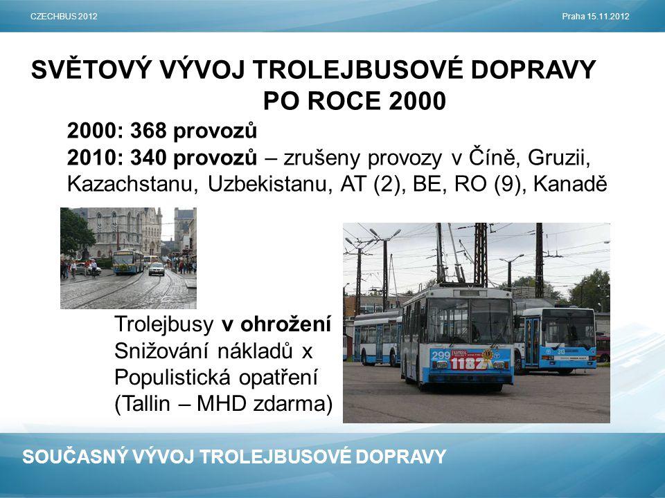 SOUČASNÝ VÝVOJ TROLEJBUSOVÉ DOPRAVY SVĚTOVÝ VÝVOJ TROLEJBUSOVÉ DOPRAVY PO ROCE 2000 CZECHBUS 2012Praha 15.11.2012 2000: 368 provozů 2010: 340 provozů – zrušeny provozy v Číně, Gruzii, Kazachstanu, Uzbekistanu, AT (2), BE, RO (9), Kanadě Trolejbusy v ohrožení Snižování nákladů x Populistická opatření (Tallin – MHD zdarma)