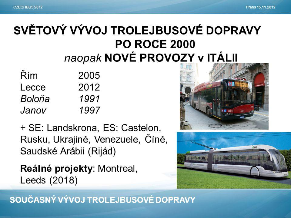 SOUČASNÝ VÝVOJ TROLEJBUSOVÉ DOPRAVY SVĚTOVÝ VÝVOJ TROLEJBUSOVÉ DOPRAVY PO ROCE 2000 naopak NOVÉ PROVOZY v ITÁLII CZECHBUS 2012Praha 15.11.2012 Řím2005 Lecce2012 Boloňa1991 Janov1997 + SE: Landskrona, ES: Castelon, Rusku, Ukrajině, Venezuele, Číně, Saudské Arábii (Rijád) Reálné projekty: Montreal, Leeds (2018)