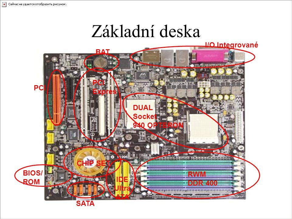 Základní deska I/O Integrované RWM DDR 400 CHIP SET BIOS/ ROM IDE Ultra ATA SATA DUAL Socket 940 OPTERON BAT PCI Expres
