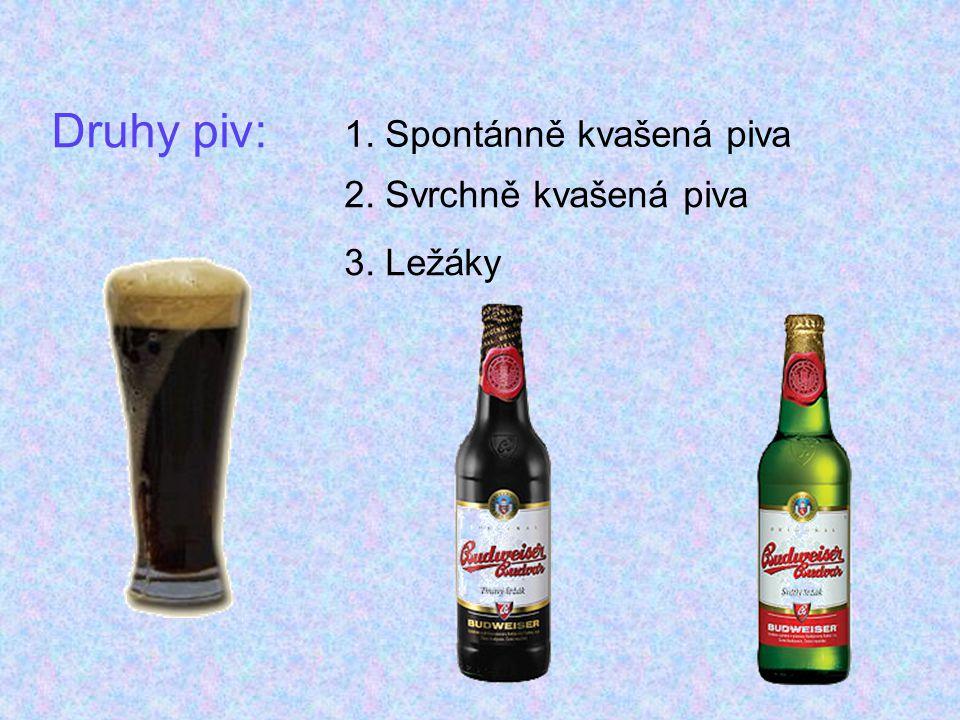Spontánně kvašená piva: Spontánně kvašená piva:Lambik - Je pivo původem z Belgie, údajně připomíná suchý Vermut.