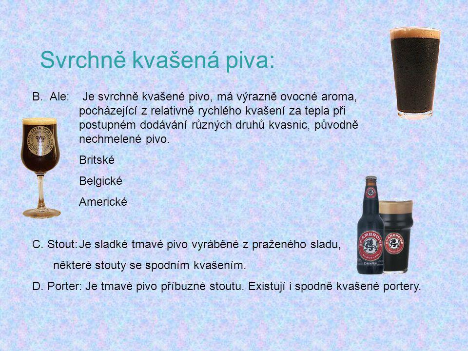 Svrchně kvašená piva: B.Ale: Je svrchně kvašené pivo, má výrazně ovocné aroma, pocházející z relativně rychlého kvašení za tepla při postupném dodáván