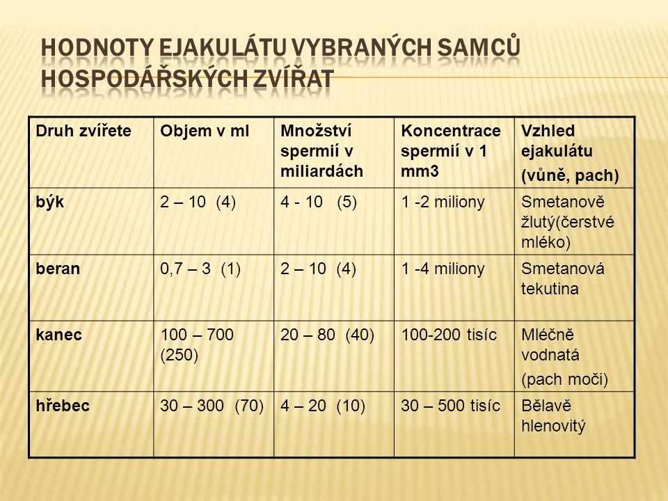Druh zvířeteObjem v mlMnožství spermií v miliardách Koncentrace spermií v 1 mm3 Vzhled ejakulátu (vůně, pach) býk2 – 10 (4)4 - 10 (5)1 -2 milionySmeta
