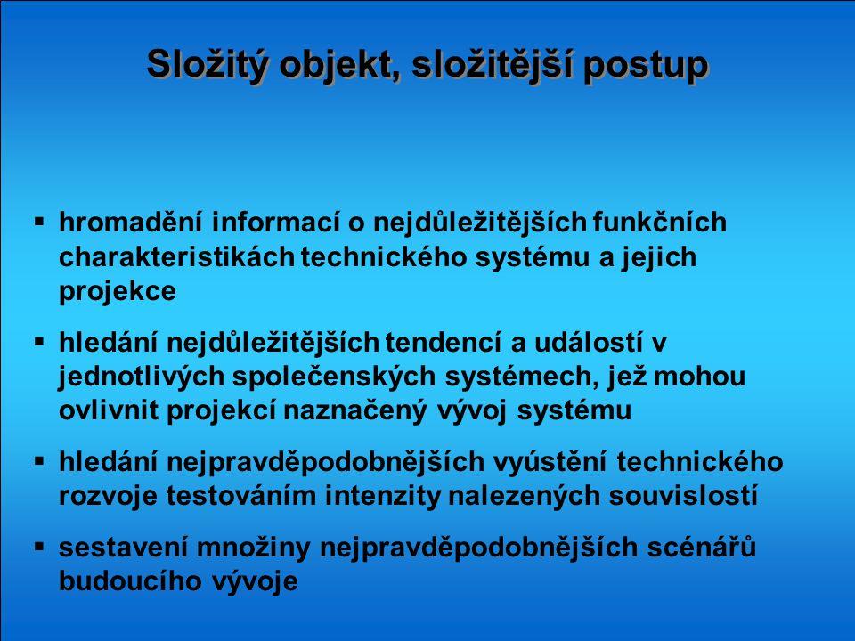 Složitý objekt, složitější postup  hromadění informací o nejdůležitějších funkčních charakteristikách technického systému a jejich projekce  hledání