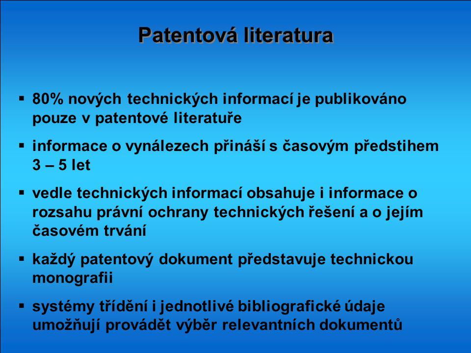 Patentová literatura  80% nových technických informací je publikováno pouze v patentové literatuře  informace o vynálezech přináší s časovým předsti