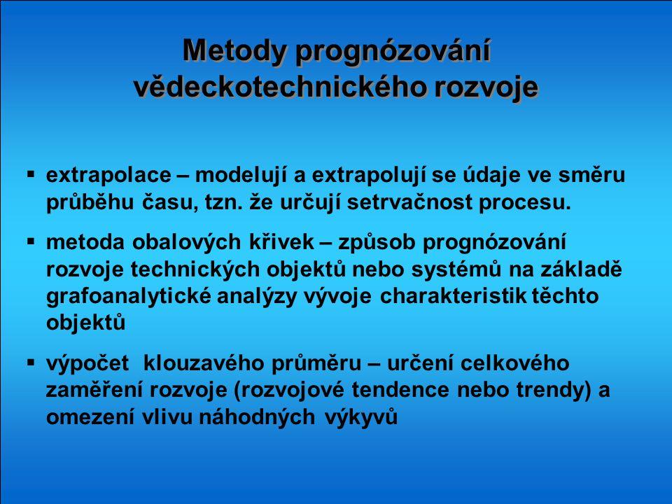 Metody prognózování vědeckotechnického rozvoje  extrapolace – modelují a extrapolují se údaje ve směru průběhu času, tzn. že určují setrvačnost proce