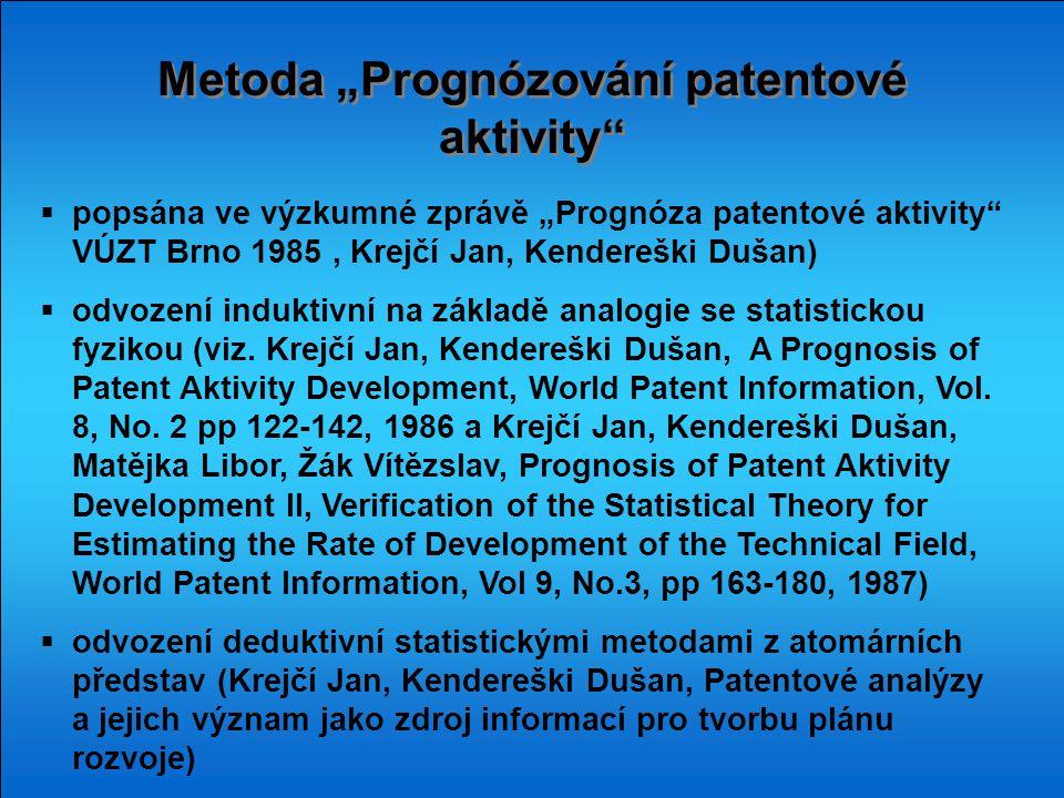 """Metoda """"Prognózování patentové aktivity""""  popsána ve výzkumné zprávě """"Prognóza patentové aktivity"""" VÚZT Brno 1985, Krejčí Jan, Kendereški Dušan)  od"""