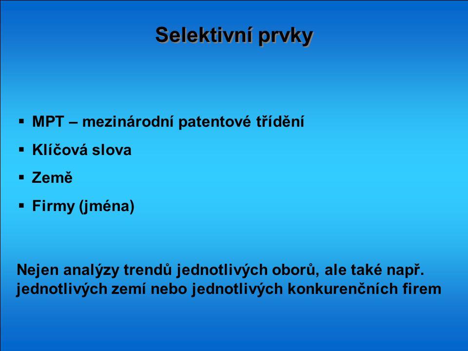 Selektivní prvky  MPT – mezinárodní patentové třídění  Klíčová slova  Země  Firmy (jména) Nejen analýzy trendů jednotlivých oborů, ale také např.