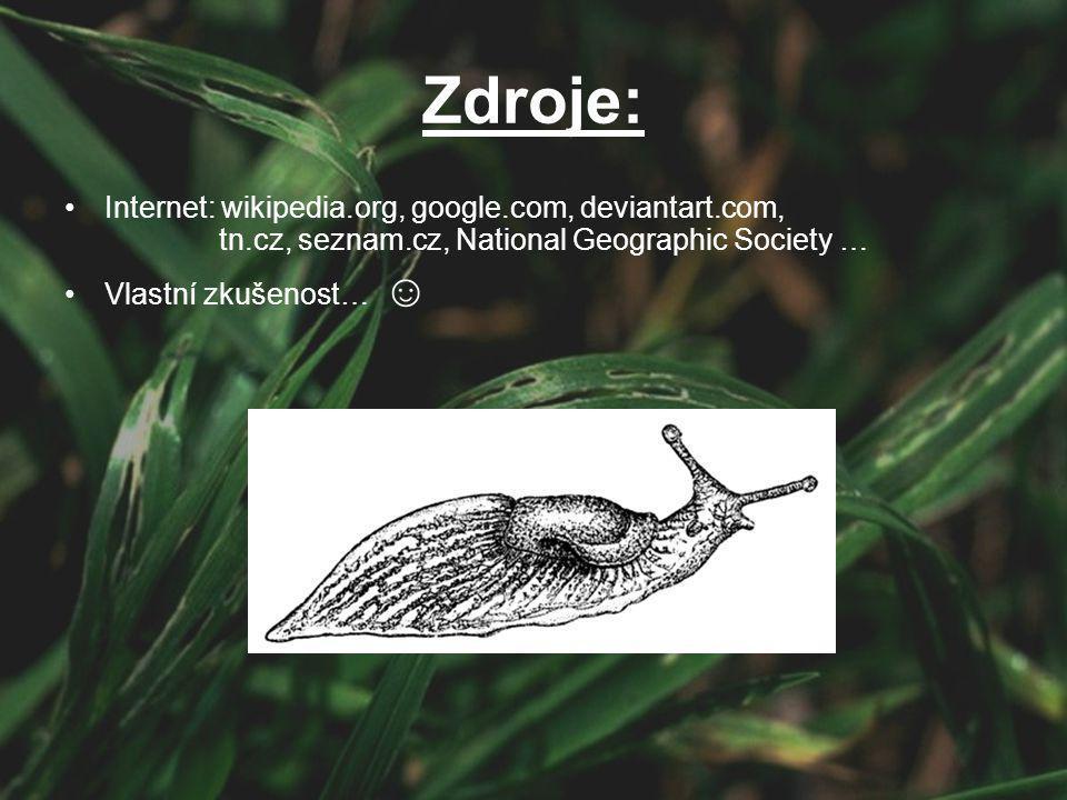 Zdroje: Internet: wikipedia.org, google.com, deviantart.com, tn.cz, seznam.cz, National Geographic Society … Vlastní zkušenost… ☺