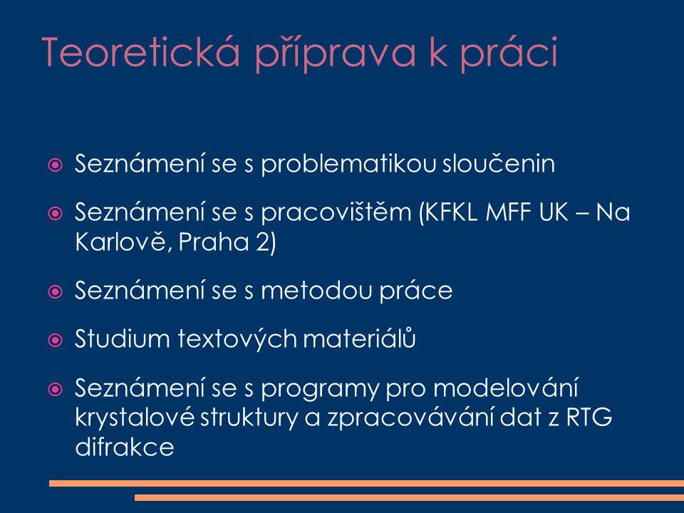 Teoretická příprava k práci  Seznámení se s problematikou sloučenin  Seznámení se s pracovištěm (KFKL MFF UK – Na Karlově, Praha 2)  Seznámení se s metodou práce  Studium textových materiálů  Seznámení se s programy pro modelování krystalové struktury a zpracovávání dat z RTG difrakce
