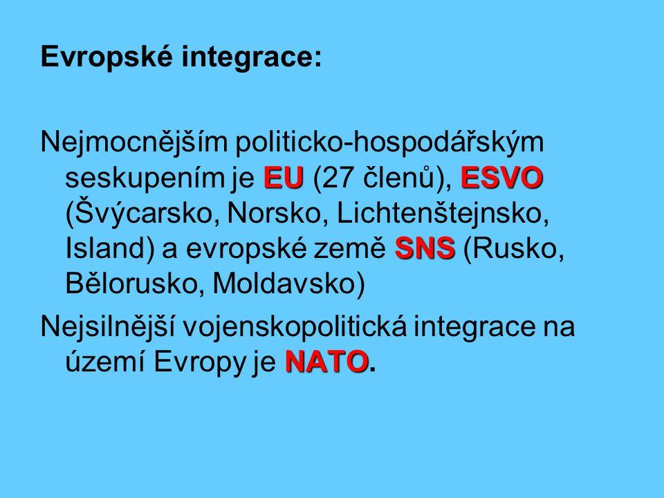 Evropské integrace: EUESVO SNS Nejmocnějším politicko-hospodářským seskupením je EU (27 členů), ESVO (Švýcarsko, Norsko, Lichtenštejnsko, Island) a ev