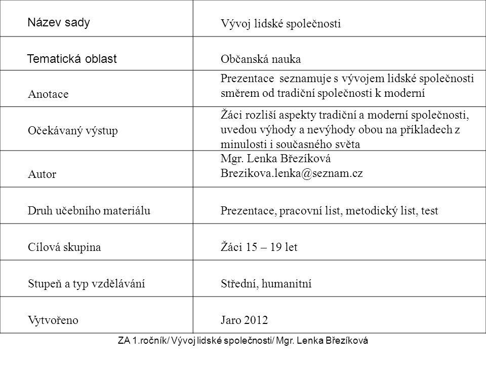 Srovnejte styl života na obrázcích Moderní společnostTradiční společnost ZA 1.ročník / Vývoj lidské společnosti/ Mgr.