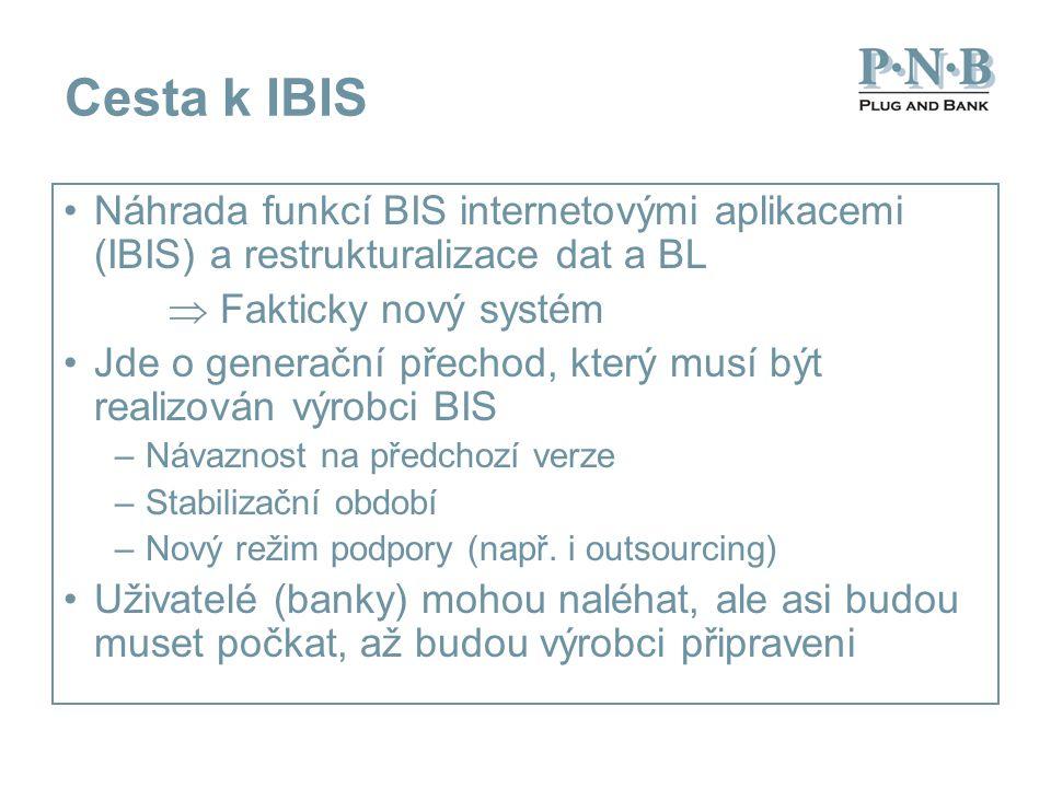 Cesta k IBIS Náhrada funkcí BIS internetovými aplikacemi (IBIS) a restrukturalizace dat a BL  Fakticky nový systém Jde o generační přechod, který musí být realizován výrobci BIS –Návaznost na předchozí verze –Stabilizační období –Nový režim podpory (např.