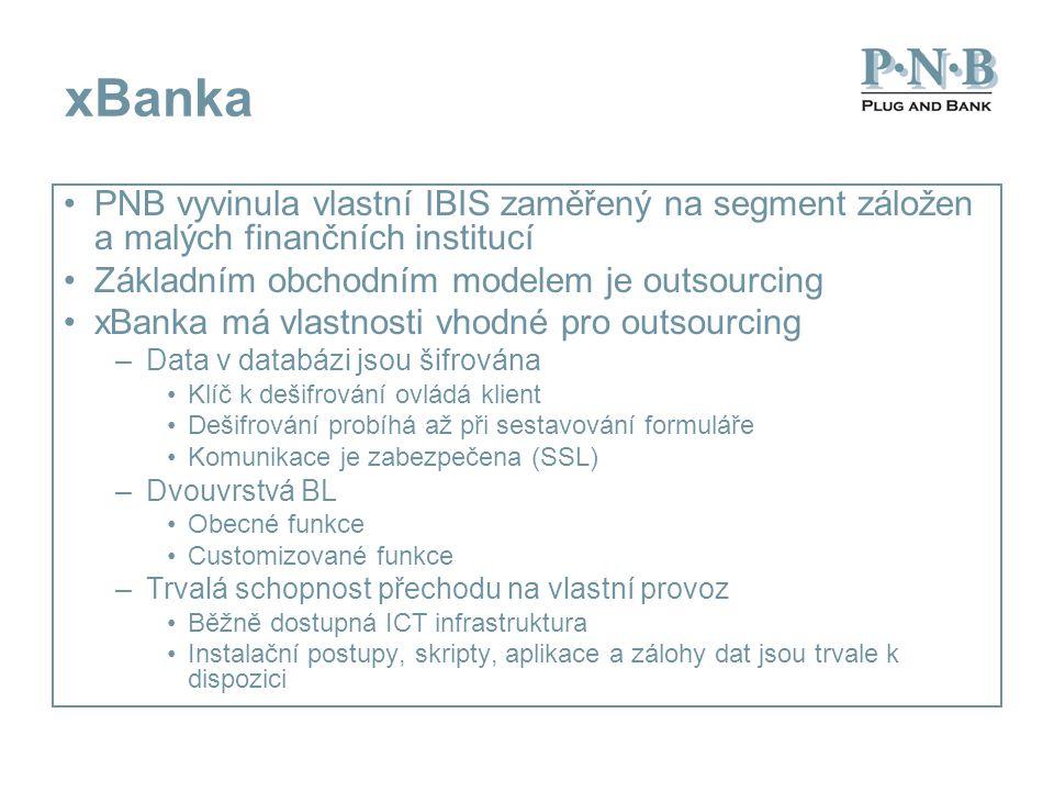 xBanka PNB vyvinula vlastní IBIS zaměřený na segment záložen a malých finančních institucí Základním obchodním modelem je outsourcing xBanka má vlastn