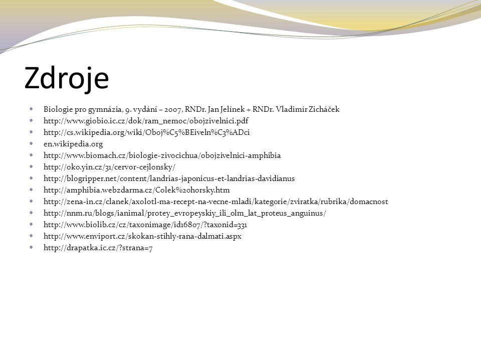 Zdroje Biologie pro gymnázia, 9. vydání – 2007, RNDr. Jan Jelínek + RNDr. Vladimír Zicháček http://www.giobio.ic.cz/dok/ram_nemoc/obojzivelnici.pdf ht