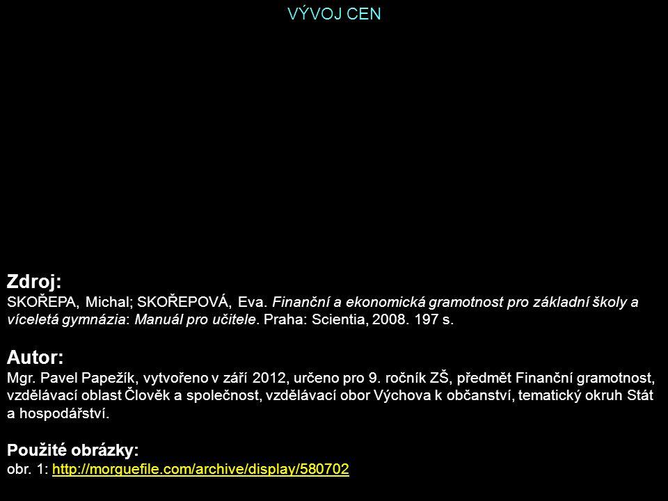 VÝVOJ CEN Zdroj: SKOŘEPA, Michal; SKOŘEPOVÁ, Eva.