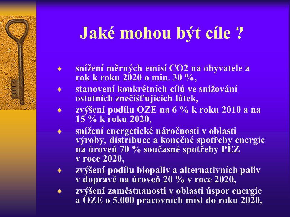 Jaké mohou být cíle ?  snížení měrných emisí CO2 na obyvatele a rok k roku 2020 o min. 30 %,  stanovení konkrétních cílů ve snižování ostatních zneč
