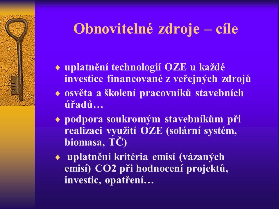 Obnovitelné zdroje – cíle  uplatnění technologií OZE u každé investice financované z veřejných zdrojů  osvěta a školení pracovníků stavebních úřadů…