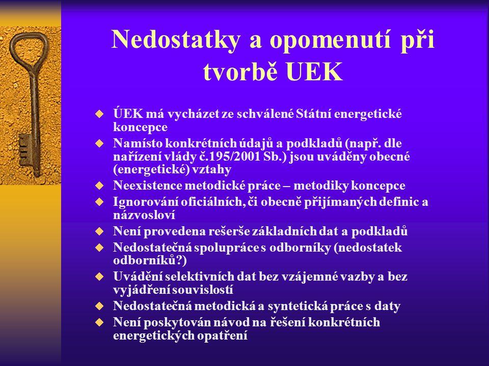 Nedostatky a opomenutí při tvorbě UEK  ÚEK má vycházet ze schválené Státní energetické koncepce  Namísto konkrétních údajů a podkladů (např. dle nař