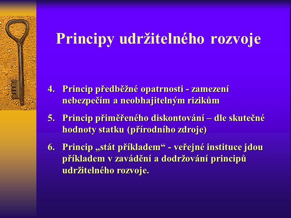 Principy udržitelného rozvoje 4.Princip předběžné opatrnosti - zamezení nebezpečím a neobhajitelným rizikům 5.Princip přiměřeného diskontování – dle s