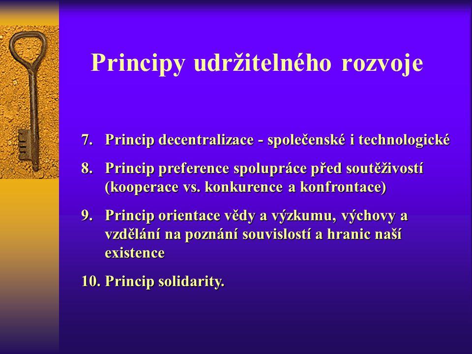 Principy udržitelného rozvoje 7.Princip decentralizace - společenské i technologické 8.Princip preference spolupráce před soutěživostí (kooperace vs.