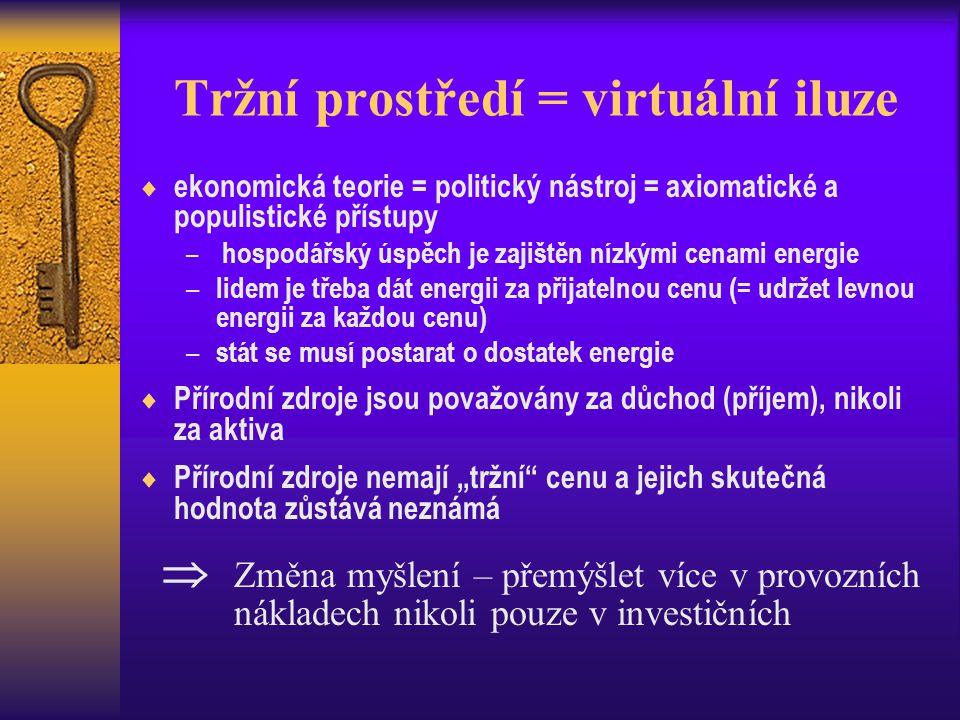 Tržní prostředí = virtuální iluze  ekonomická teorie = politický nástroj = axiomatické a populistické přístupy – hospodářský úspěch je zajištěn nízký